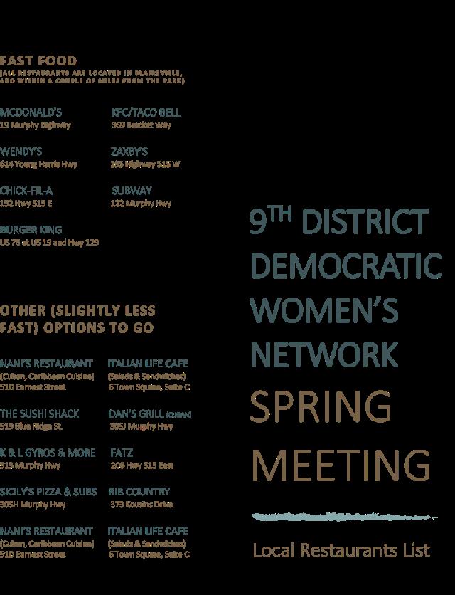 Spring Meeting 2019 Restaurant List